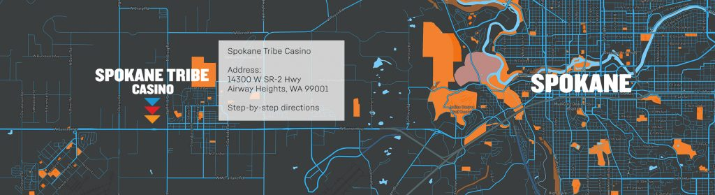 Image of map that shows the location of the Spokane Tribe Casino in relation to spokane