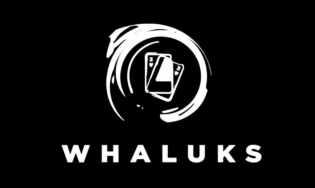 White Whaluks logo with slight drop shadow