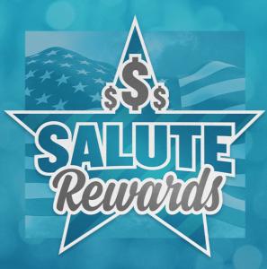 Salute Rewards logo with blue background