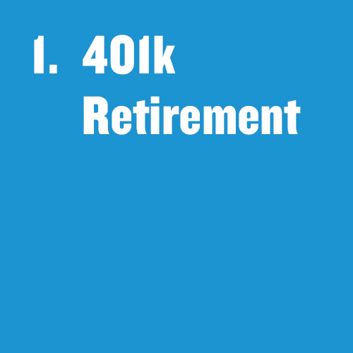 "Tile that says, ""401k Retirement"""