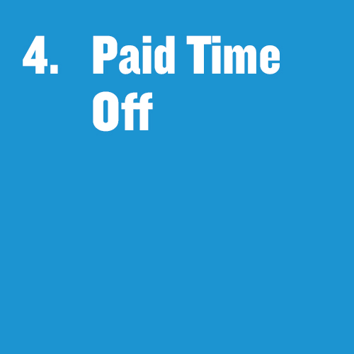 """Tile that says """"Paid Time Off"""""""