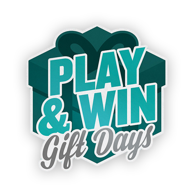 Play and Win logo with present box background