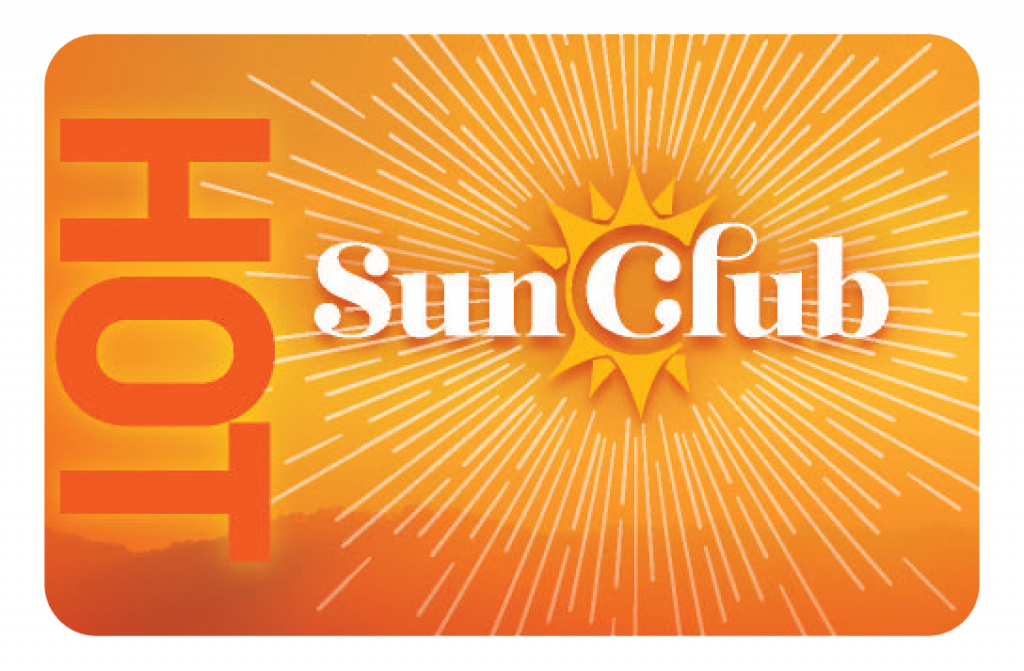 """Orange card that says """"Hot"""" along the side with Sun Club logo in the middle"""