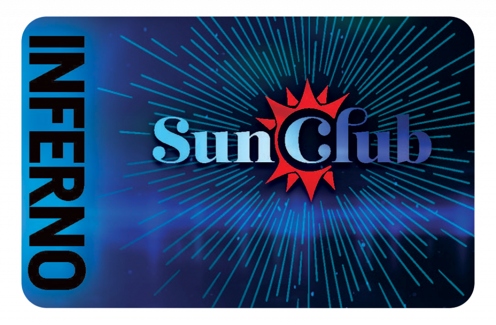"""Black and blue card that says """"Inferno"""" along the side with Sun Club logo in the middle"""