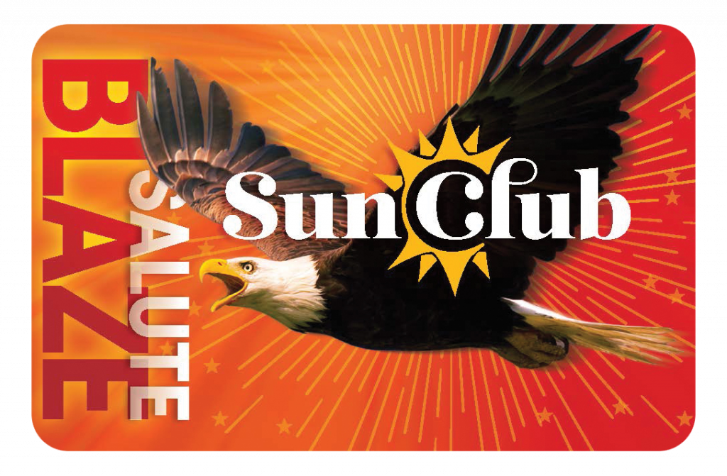 """Orange and red card that says """"Salute Blaze"""" along the side with Sun Club logo and eagle in the middle"""