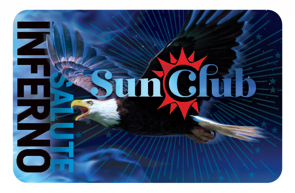 """Black and blue card that says """"Salute Inferno"""" along the side with Sun Club logo and eagle in the middle"""